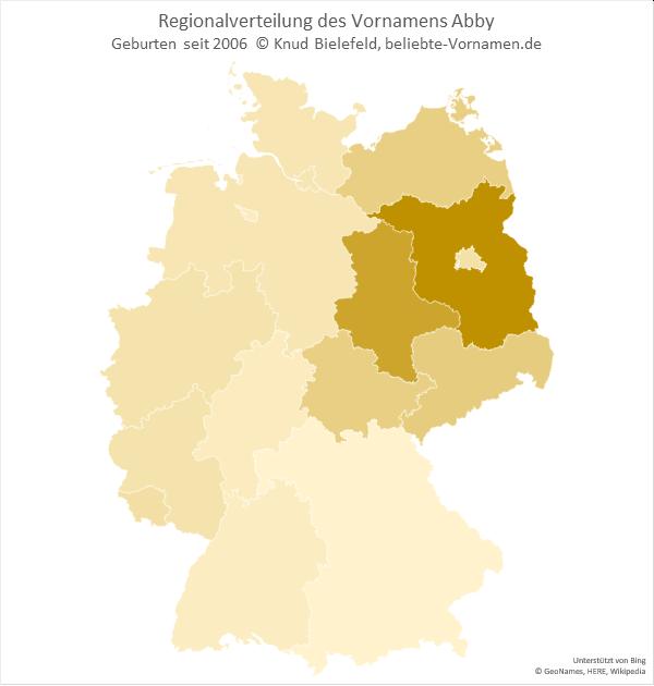 Am beliebtesten ist der Name Abby in Brandenburg.