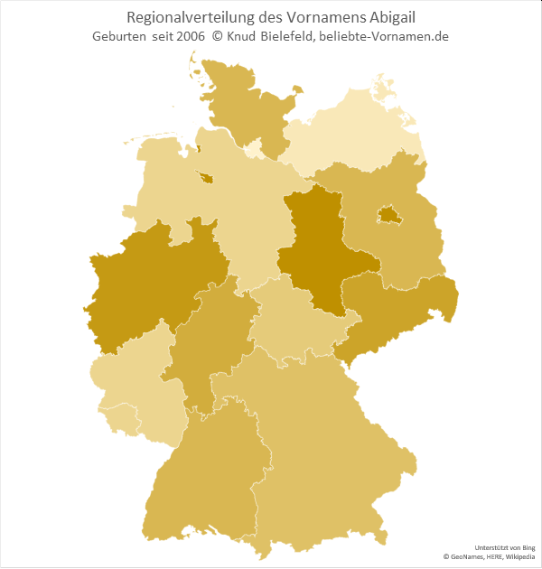 In Sachsen-Anhalt und Berlin ist der Name Abigail besonders beliebt.