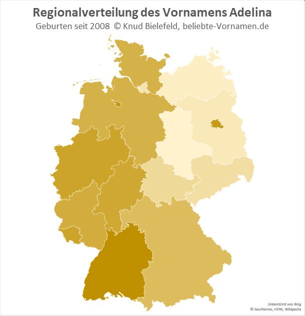 In Berlin und Baden-Württemberg ist der Name Adelina besonders beliebt.