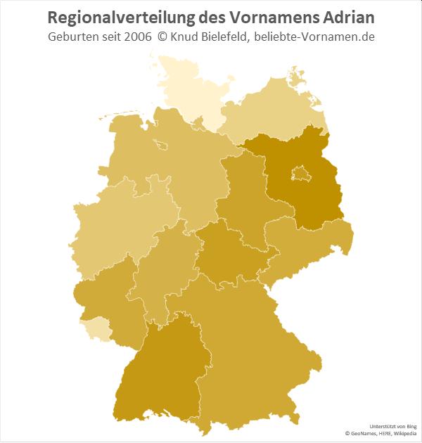 Am beliebtesten ist der Vorname Adrian in Brandenburg.