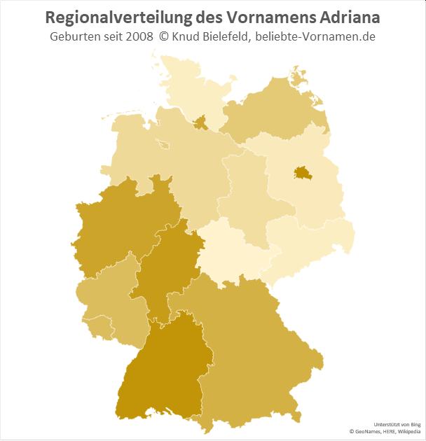 Am beliebtesten ist der Name Adriana in Berlin und Baden-Württemberg.