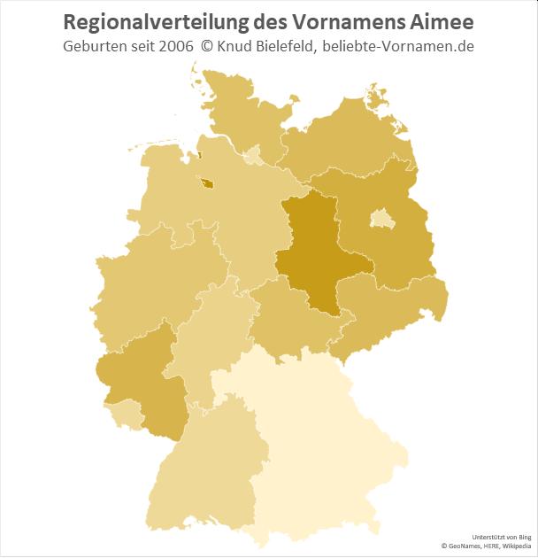 In Bremen und Sachsen-Anhalt ist der Name Aimee besonders beliebt.