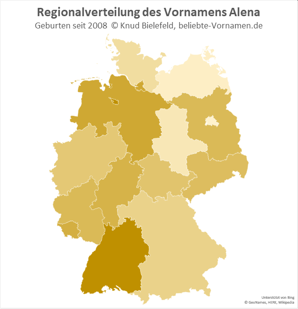 In Bremen und Baden-Württemberg ist der Name Alena besonders beliebt.