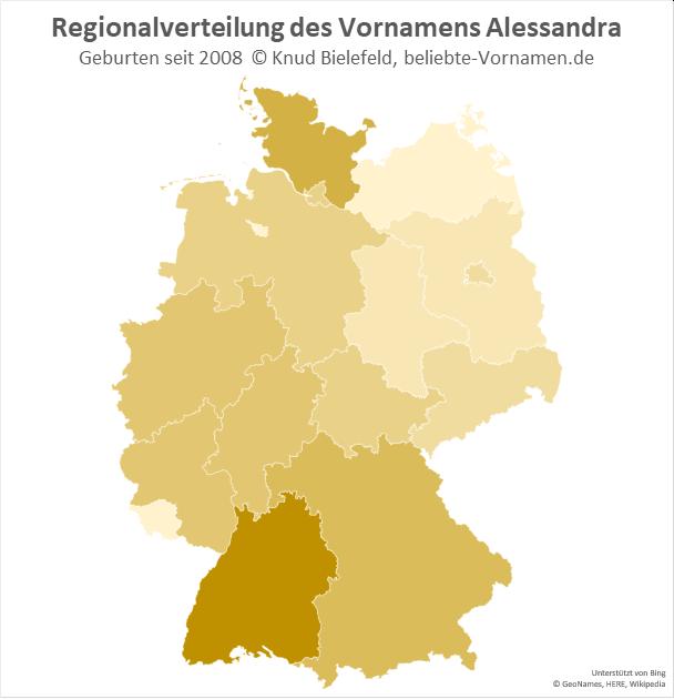Am beliebtesten ist der Name Alessandra in Baden-Württtemberg.