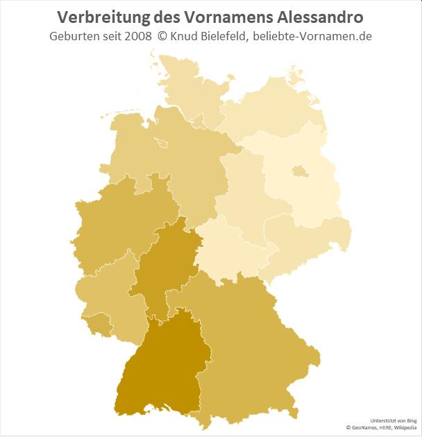 Besonders beliebt ist der Name Alessandro in Baden-Württemberg.