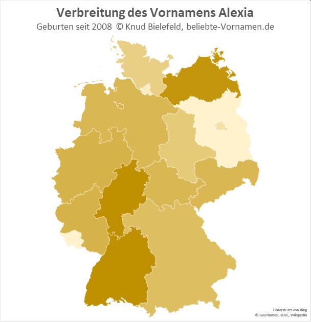 Am beliebtesten ist der Name Alexia in Baden-Württemberg, Hessen und Mecklenburg-Vorpommern.