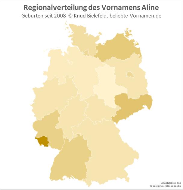 Im Saarland ist der Name Aline besonders beliebt.