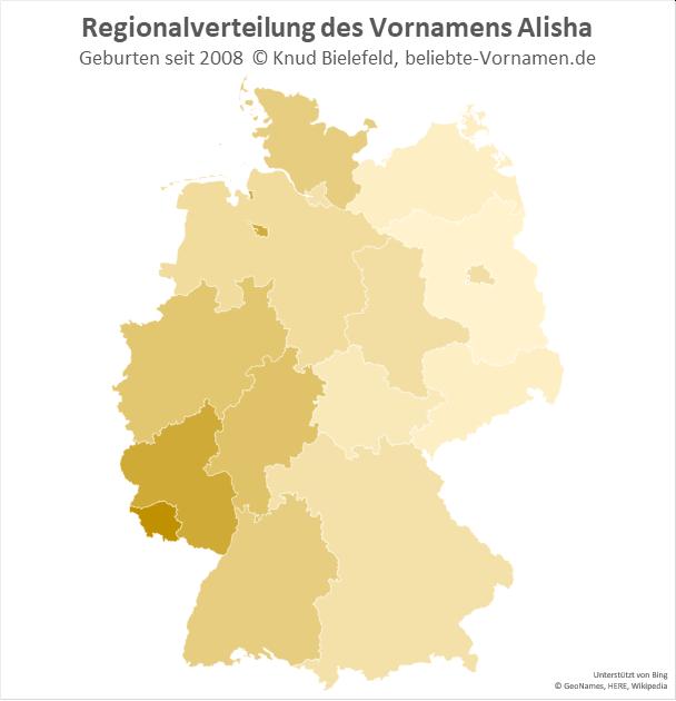 Am beliebtesten ist der Name Alisha im Südwesten Deutschlands.