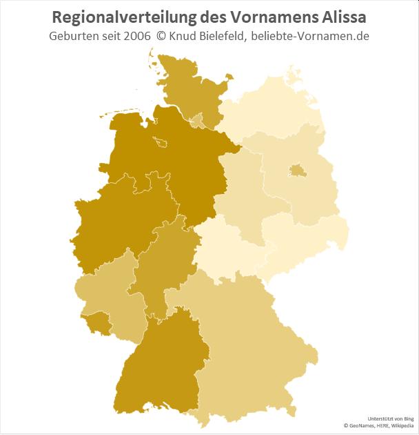 Am beliebtesten ist der Name Alissa in Westdeutschland.