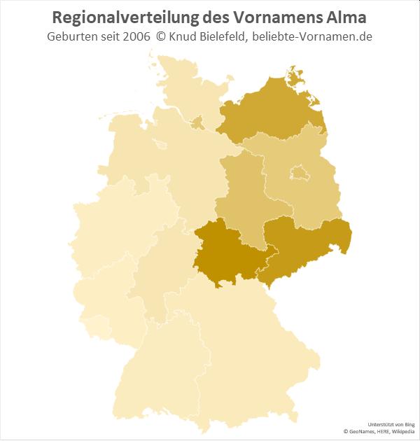 Der Name Alma ist in Thüringen am beliebtesten.