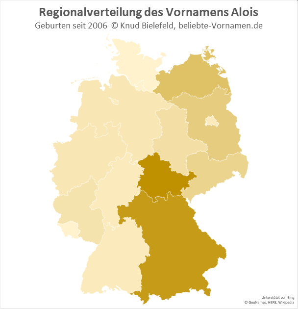 In Thüringen und Bayern ist der Name Alois besonders beliebt.