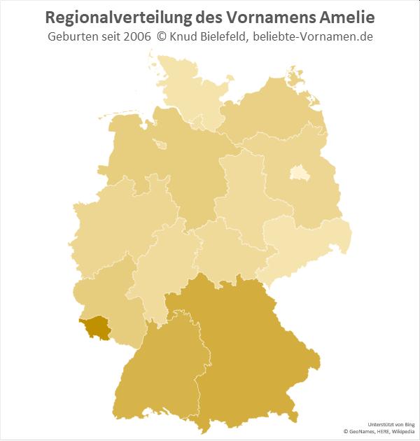 Am beliebtesten ist der Name Amelie im Saarland.