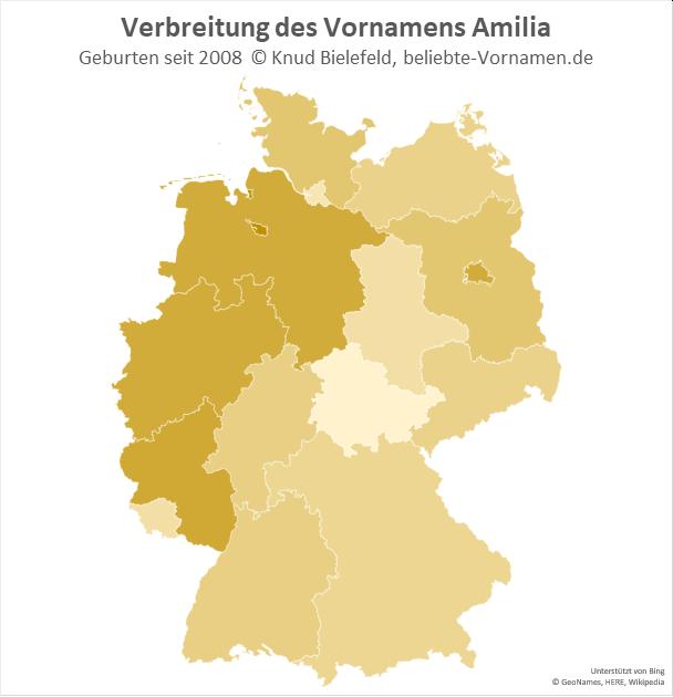 Am beliebtesten ist der Name Amilia in Bremen.