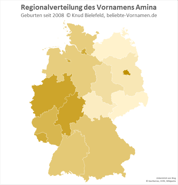 In Berlin ist der Name Amina besonders beliebt.