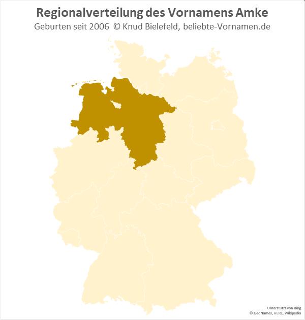Der Name Amke ist ausschließlich in Niedersachsen – besonders im Nordwesten – verbreitet.