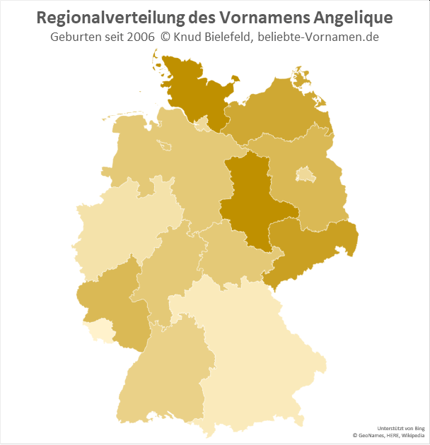 In Sachsen-Anhalt und Schleswig-Holstein ist der Name Angelique besonders beliebt.