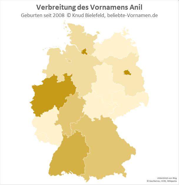 Am beliebtesten ist der Name Anil in Hamburg, Berlin und Nordrhein-Westfalen.