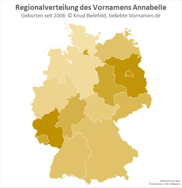Der Name Annabelle ist in Rheinland-Pfalz am beliebtesten.