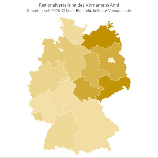 In Mecklenburg-Vorpommern und in Sachsen ist der Name Anni besonders beliebt.