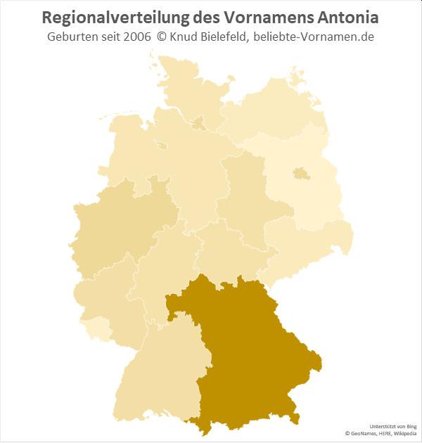 Am populärsten ist der Name Antonia in Bayern.