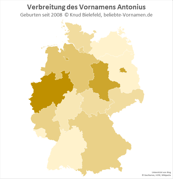 Am beliebtesten ist der Name Antonius in Nordrhein-Westfalen.