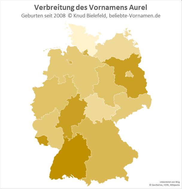 Am beliebtesten ist der Name Aurel in Baden-Württemberg.