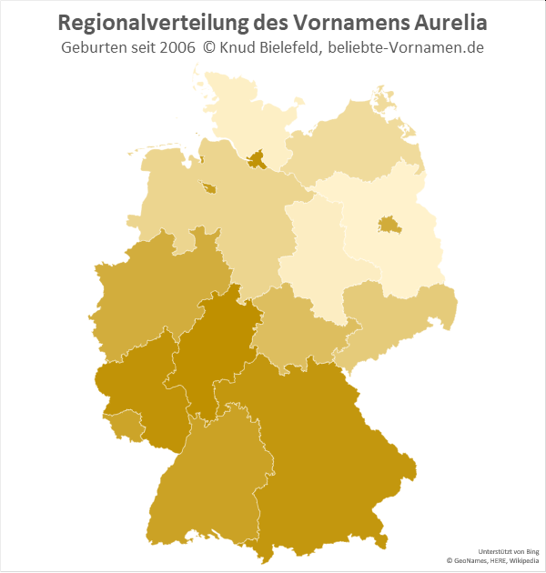 Der Name Aurelia kommt eher in Süddeutschland vor.