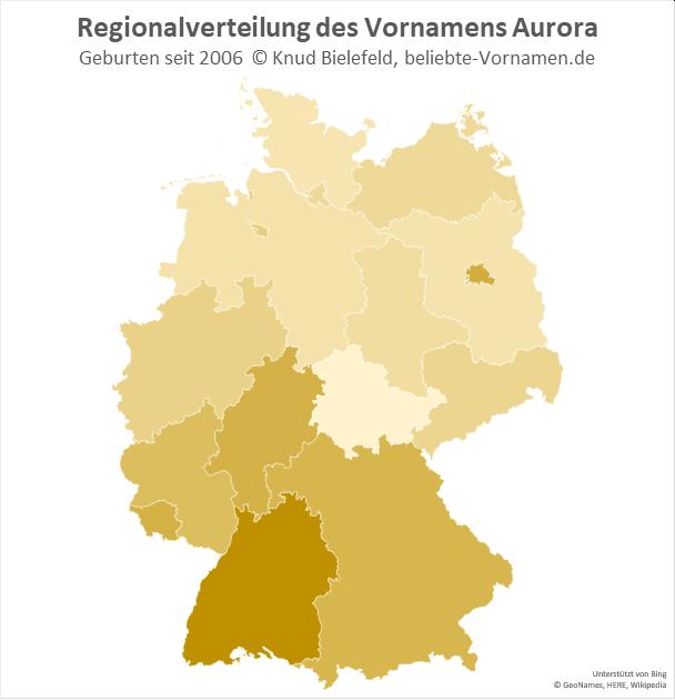 Am beliebtesten ist der Name Aurora in Baden-Württemberg.
