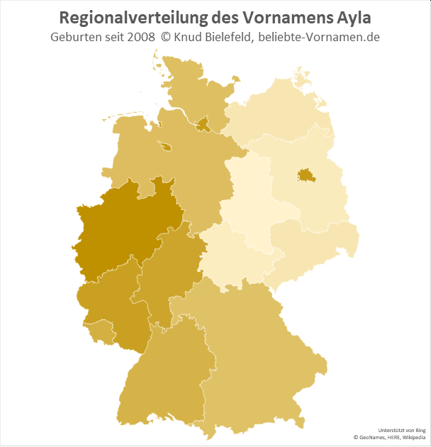 In Nordrhein-Westfalen ist der Name Ayla besonders beliebt.