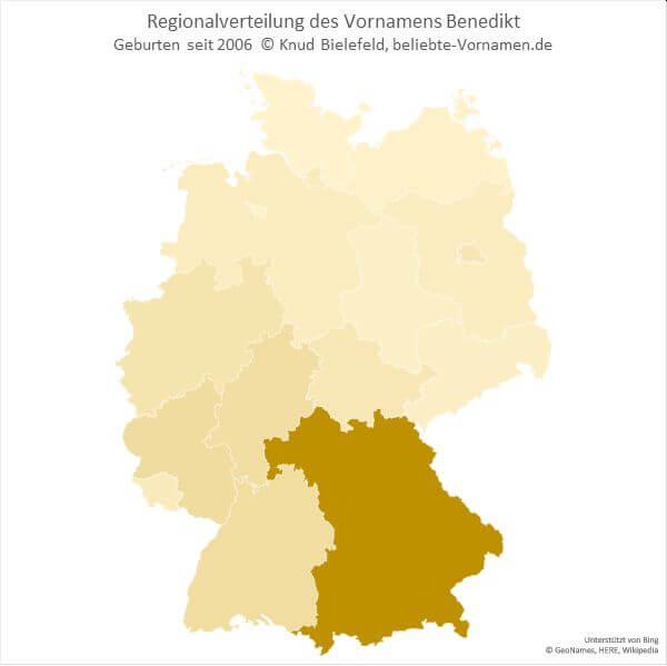 Der Name Benedikt kommt hauptsächlich in Bayern vor.