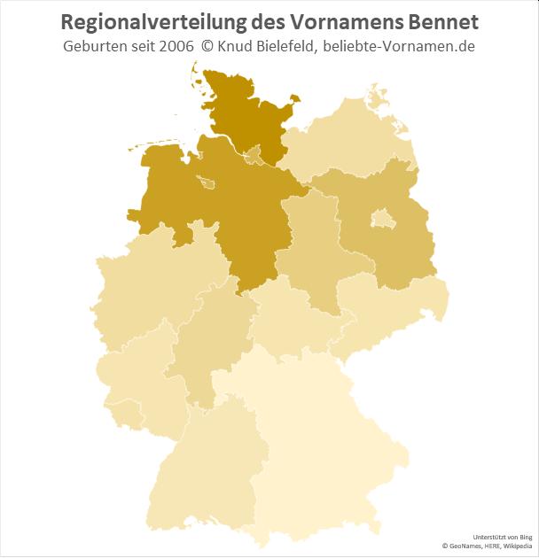Am beliebtesten ist der Name Bennet in Schleswig-Holstein.