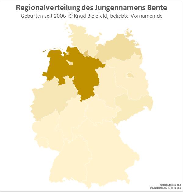 Als Jungenname kommt der Name Bente vor allem in Niedersachsen vor.