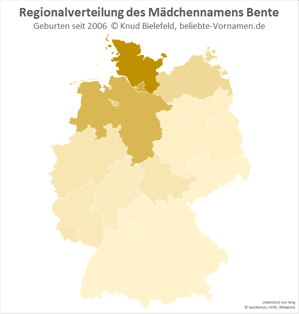 In Schleswig-Holstein ist Bente ein beliebter Mädchenname.