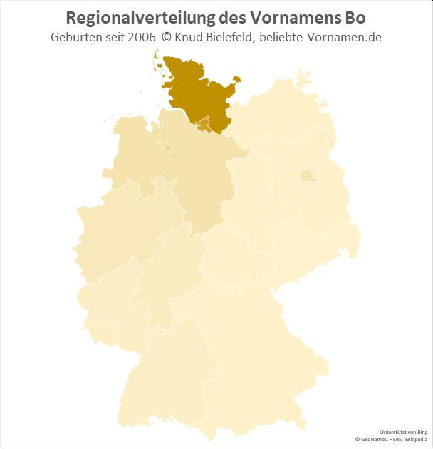 Der Name Bo kommt vor allem in Schleswig-Holstein und Hamburg vor.