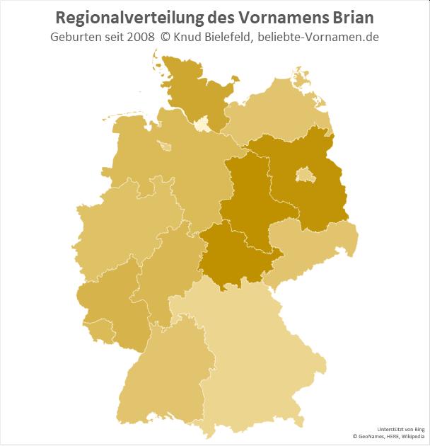 In Thüringen und Sachsen-Anhalt ist der Name Brian besonders beliebt.