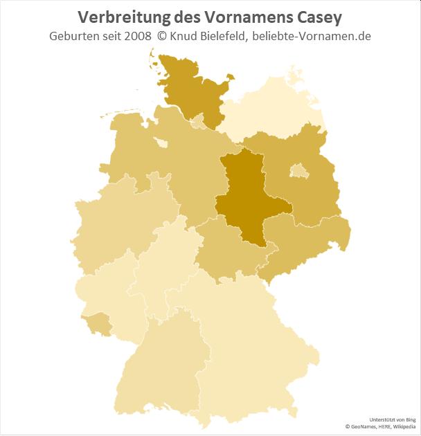 Am beliebtesten ist Casey als Mädchenname in Sachsen-Anhalt.