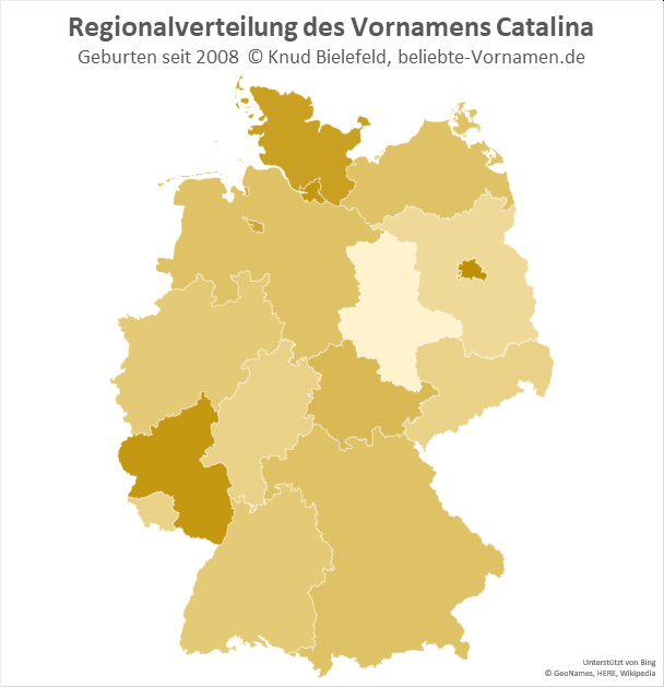 Am beliebtesten ist der Name Catalina in Berlin.
