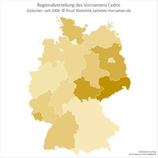 Im Bundesland Sachsen ist der Name Cedric besonders häufig vertreten.
