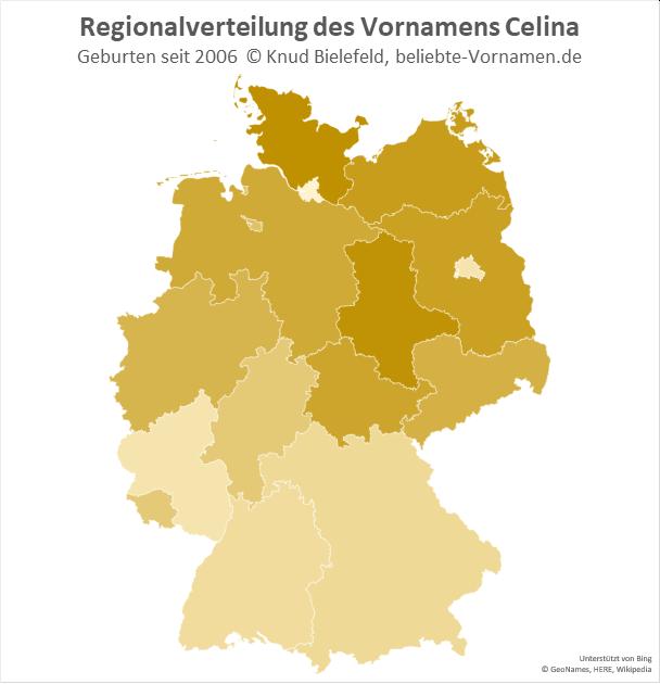 Der Name Celina ist in Norddeutschland am beliebtesten.