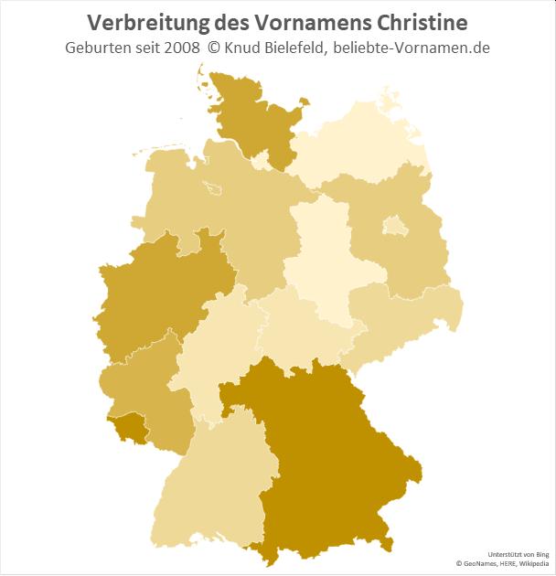 In Bayern und im Saarland ist der Name Christine besonders beliebt.