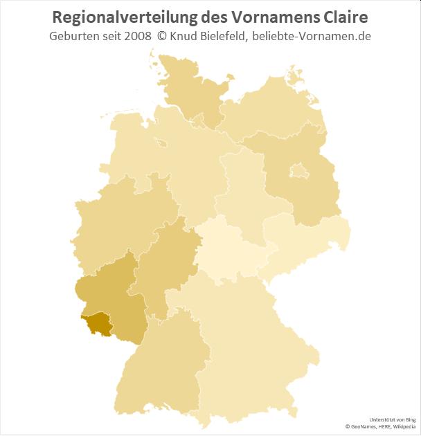 Im Saarland ist der Name Claire besonders beliebt.