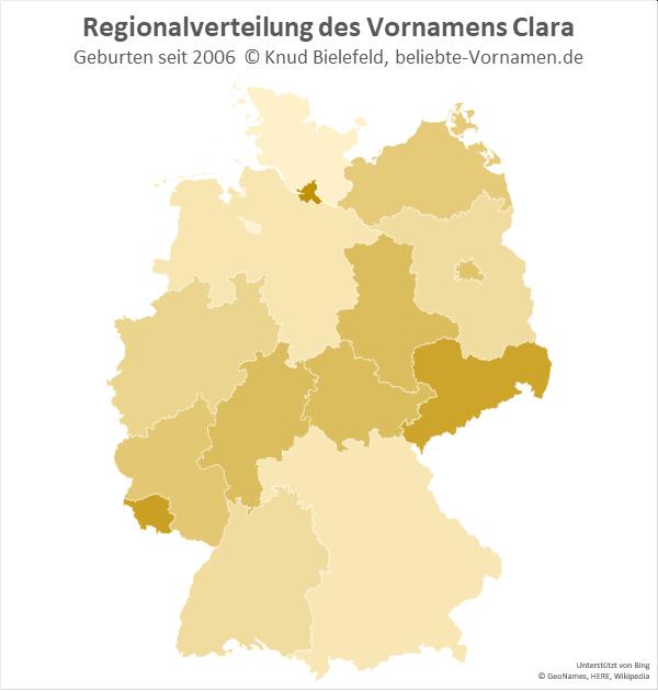 Am beliebtesten ist der Name Clara im Saarland, in Hamburg und in Sachsen.