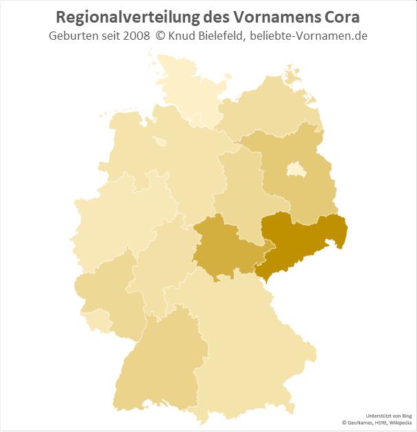 Besonders beliebt ist der Name Cora in Sachsen.