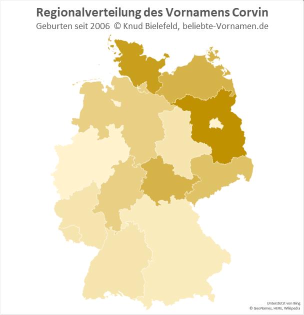 Am beliebtesten ist der Name Corvin in Brandenburg.