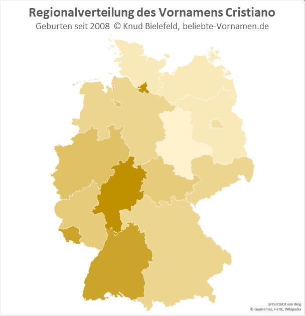Am beliebtesten ist der Name Cristiano in Hamburg und in Hessen.