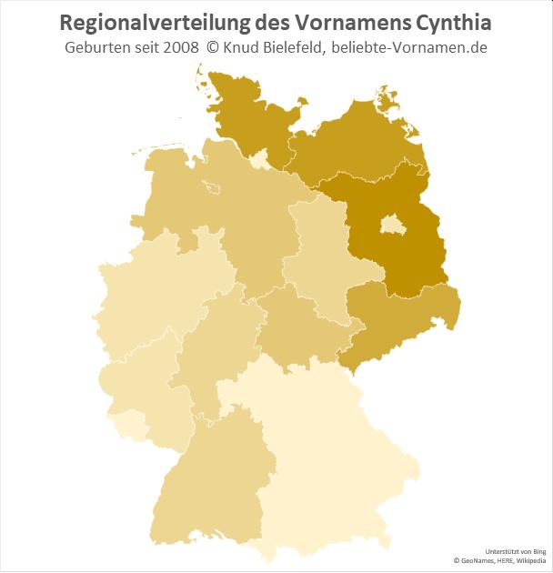 In Brandenburg ist der Name Cynthia besonders beliebt.