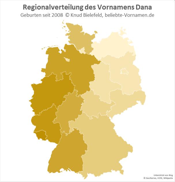 Im Westen Deutschlands ist der Name Dana besonders beliebt.