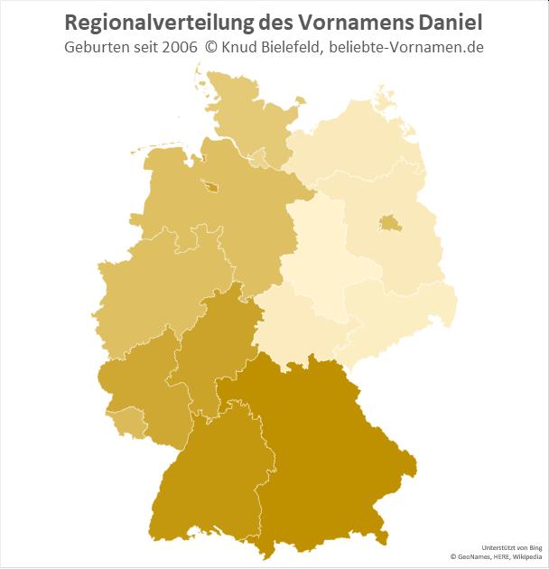 Am beliebtesten ist der Name Daniel in Süddeutschland.