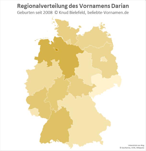 Am beliebtesten ist der Name Darian in Bremen.