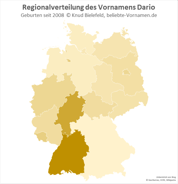 In Baden-Württemberg ist der Name Dario besonders beliebt.